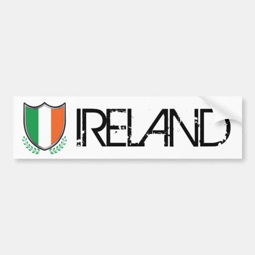 Escudo de la bandera de Irlanda con la pegatina pa Etiqueta De Parachoque
