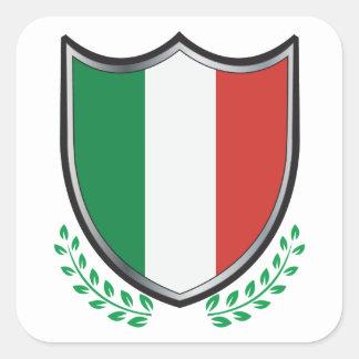 Escudo de la bandera de Italia con los laureles Pegatina Cuadrada