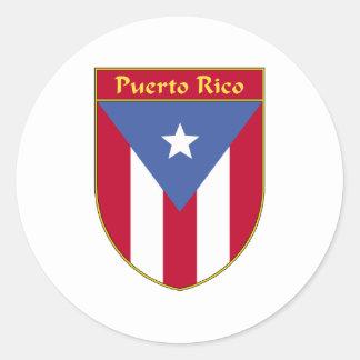 Escudo de la bandera de Puerto Rico Pegatina Redonda