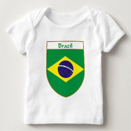 Escudo de la bandera del Brasil Playera De Bebé