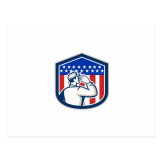 Escudo de la bandera del soldado que saluda americ postal
