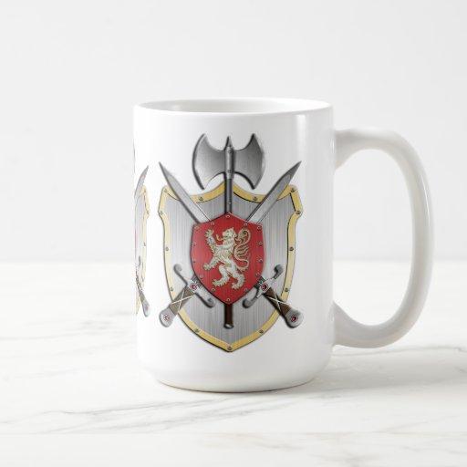 Escudo de la batalla del león taza