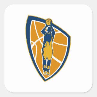 Escudo de la bola del tiro en suspensión del jugad calcomanías cuadradass