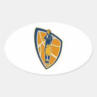 Escudo de la bola del tiro en suspensión del jugad pegatinas oval personalizadas