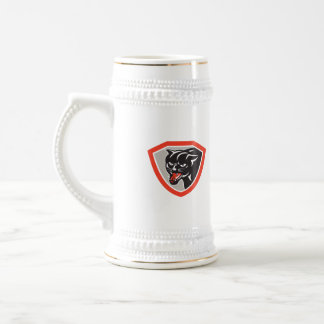 Escudo de la cabeza de la pantera del gato negro jarra de cerveza