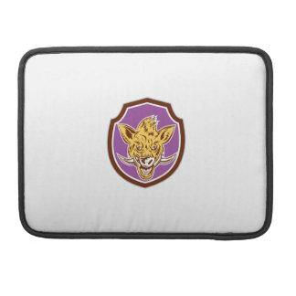 Escudo de la cabeza del Razorback del jabalí retro Funda Para Macbooks