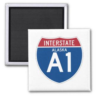 Escudo de la carretera nacional de Alaska AK I-A1 Imán Cuadrado