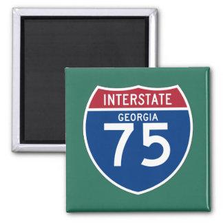 Escudo de la carretera nacional de Georgia GA I-75 Imán Cuadrado