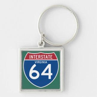 Escudo de la carretera nacional de Virginia VA Llavero Cuadrado Plateado
