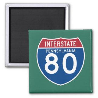 Escudo de la carretera nacional del PA I-80 de Imán Cuadrado