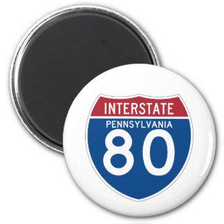 Escudo de la carretera nacional del PA I-80 de Imán Redondo 5 Cm