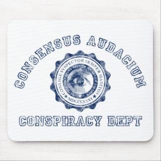 Escudo de la conspiración en azul tapete de ratones