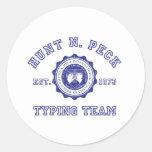 Escudo de la escuela de N. Peck de la caza en azul Pegatinas
