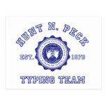 Escudo de la escuela de N. Peck de la caza en azul Tarjeta Postal