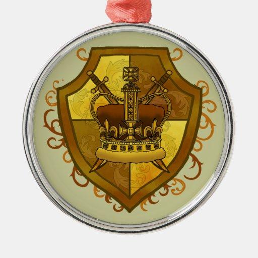 Escudo de la espada de la corona adorno navideño redondo de metal