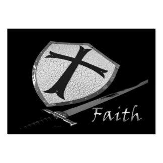 escudo de la espada de la fe con versos del salmo tarjetas de visita