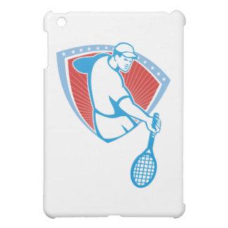Escudo de la estafa del jugador de tenis retro
