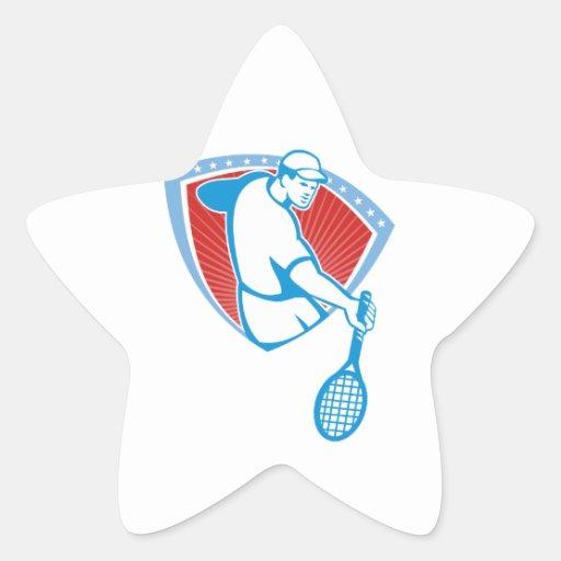 Escudo de la estafa del jugador de tenis retro pegatina en forma de estrella
