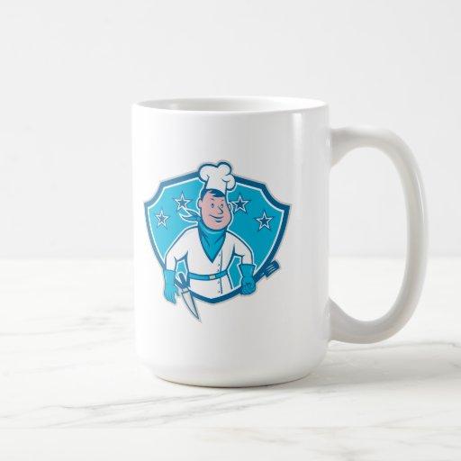 Escudo de la estrella del cocinero del cocinero taza de café