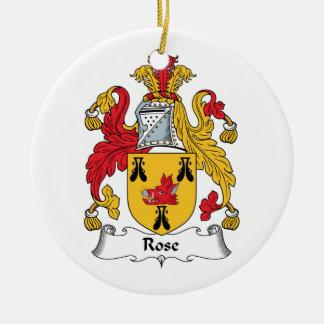 Escudo de la familia color de rosa ornamentos de navidad