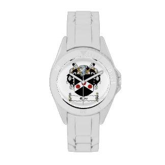Escudo de la familia color de rosa relojes de mano