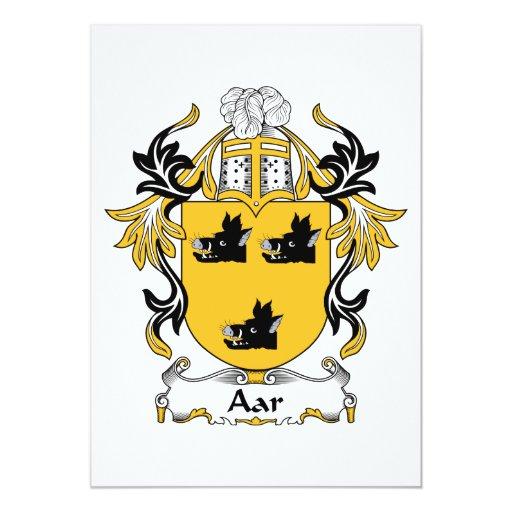 Escudo de la familia de Aar Invitación 12,7 X 17,8 Cm