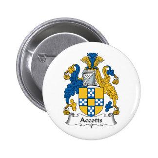 Escudo de la familia de Accotts Pin Redondo 5 Cm