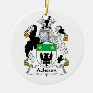 Escudo de la familia de Acheson Adorno Navideño Redondo De Cerámica