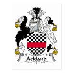 Escudo de la familia de Ackland Postal