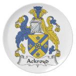 Escudo de la familia de Ackroyd Plato Para Fiesta