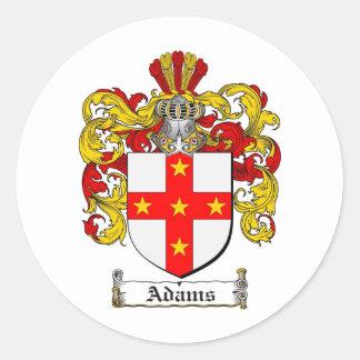 ESCUDO DE LA FAMILIA DE ADAMS - ESCUDO DE ARMAS DE PEGATINA REDONDA