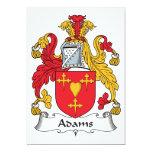 Escudo de la familia de Adams Invitación 12,7 X 17,8 Cm
