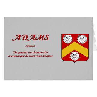 Escudo de la familia de Adams y tarjeta de la desc