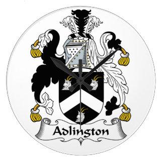 Escudo de la familia de Adlington Reloj Redondo Grande