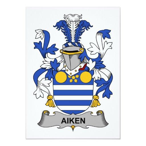 """Escudo de la familia de Aiken Invitación 5"""" X 7"""""""