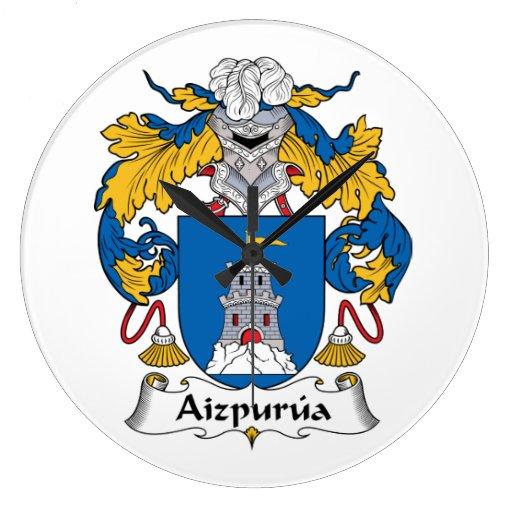 Escudo de la familia de Aizpurua Reloj Redondo Grande