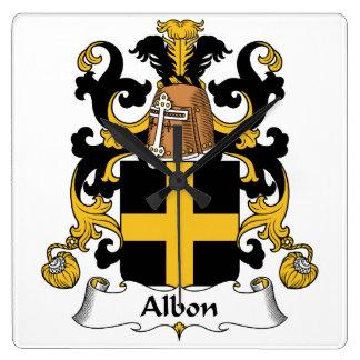 Escudo de la familia de Albon Reloj Cuadrado