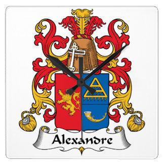 Escudo de la familia de Alejandro Reloj Cuadrado
