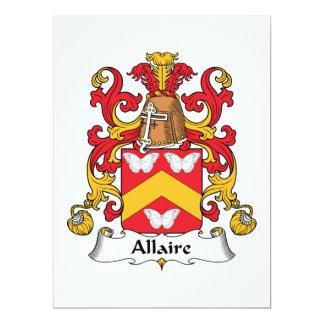 Escudo de la familia de Allaire Invitación 16,5 X 22,2 Cm