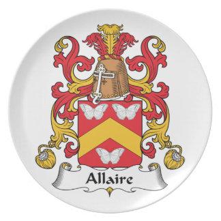 Escudo de la familia de Allaire Platos De Comidas