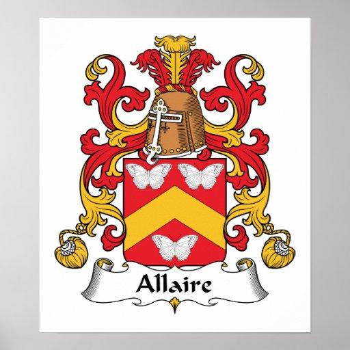 Escudo de la familia de Allaire Póster