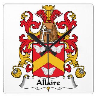 Escudo de la familia de Allaire Reloj De Pared