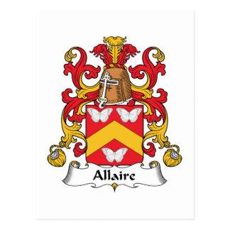 Escudo de la familia de Allaire Tarjeta Postal