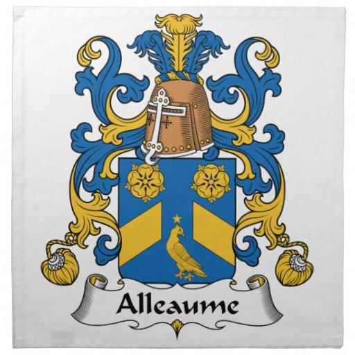 Escudo de la familia de Alleaume Servilleta