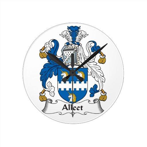 Escudo de la familia de Alleet Relojes De Pared