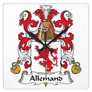 Escudo de la familia de Allemand Reloj De Pared