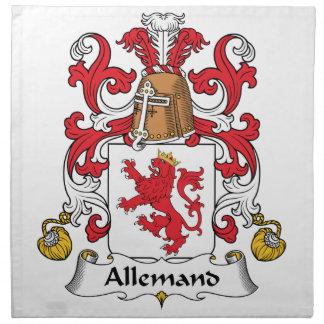 Escudo de la familia de Allemand Servilleta Imprimida