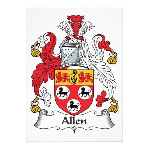 Escudo de la familia de Allen Comunicado Personalizado