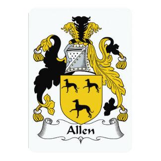 """Escudo de la familia de Allen Invitación 5"""" X 7"""""""