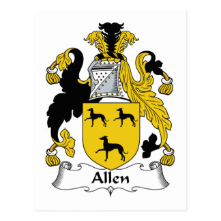 Escudo de la familia de Allen Tarjetas Postales